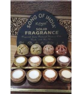 Drewniany tester - 8 zapachów w ręcznie rzeźbionych kamieniach Song of India